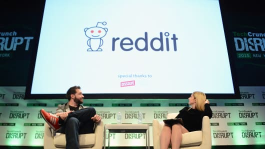 Reddit co-founder Alexis Ohanian, left, and TechCrunch co-editor Alexia Tsotsis appear onstage during TechCrunch Disrupt NY 2015 in New York.