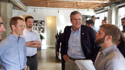 Jeb Bush visits Thumbtack headquarters in San Francisco on July 16, 2015.