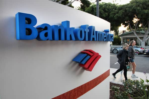 A Bank of America branch in Laguna Beach, California.