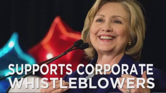 Clinton supports corporate whistleblowers