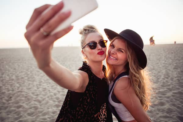 Selfie with mobile phone