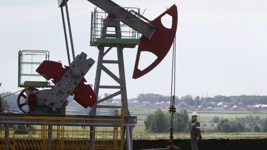 An oil pump jack in Russia