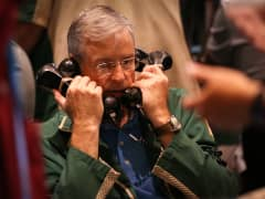 A trader works the pits at NYMEX in New York.