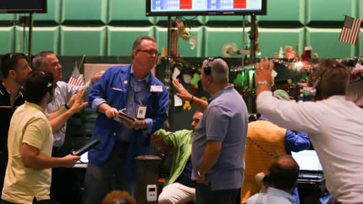 Traders at the New York Mercantile Exchange.