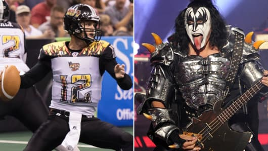 LA Kiss football and Gene Simmons