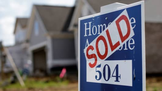 A sold sign at a new home development under construction in Nashville, Tenn.