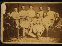 Heritage Auctions shows the front of a circa 1860 Brooklyn Atlantics baseball card. The card fetched $176K at auction on July 30, 2015.