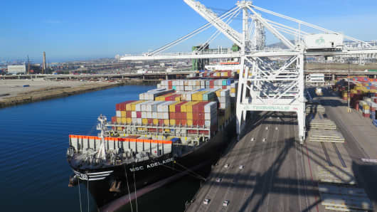 A cargo ship docked at the Port of Long Beach, Calif.