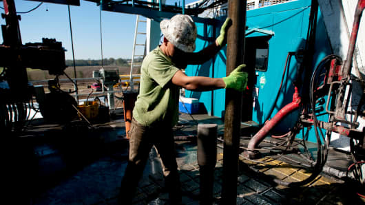 A worker on a Chesapeake Energy natural gas rig in Fort Worth, Texas