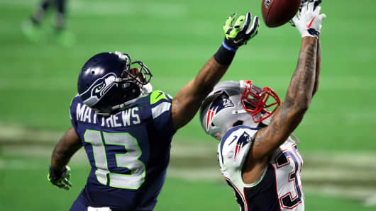 Brandon Browner of the New England Patriots breaks up a pass intended for Chris Matthews of the Seattle Seahawks during Super Bowl XLIX, February 1, 2015 in Glendale, Arizona.