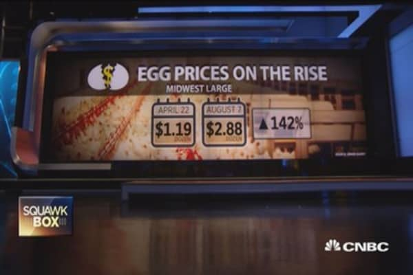 Egg prices on the rise