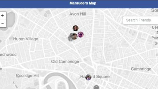 A screen of Marauders Map app showing location of user.