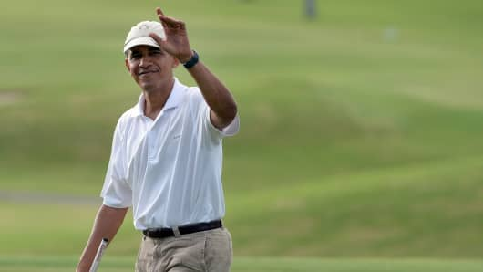 President Barack Obama on the golf course.