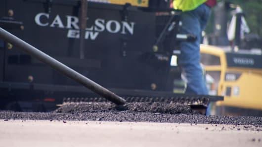 Asphalt is used for road repair.