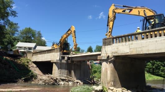A bridge northwest of Pittsburgh under repair as part of Pennsylvania's Rapid Bridge Replacement Project.