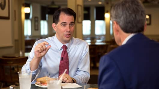 Scott Walker with CNBC's John Harwood
