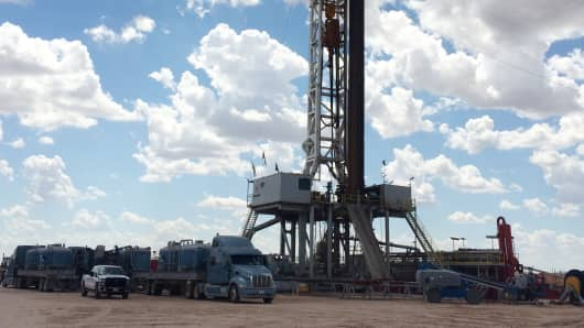Oil drilling operations in west Texas.
