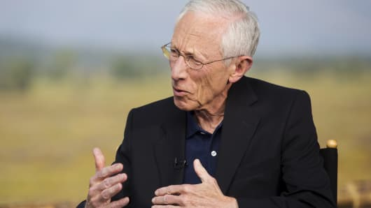 Federal Reserve Vice Chairman Stanley Fischer speaks during an interview at the Federal Reserve Bank of Kansas City's annual Jackson Hole Economic Policy Symposium in Jackson Hole, Wyoming, August 28, 2015.