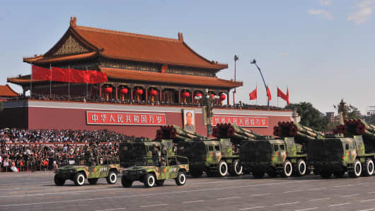 A file photo of a military parade in front of Tiananmen Gate in Beijing.