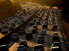 Heavy traffic clogs the 101 Freeway as people leave for the Labor Day holiday in Los Angeles on Aug. 29, 2014.