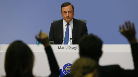 European Central Bank president Mario Draghi waits for questions during a news conference at the ECB headquarters in Frankfurt, Germany, September 3, 2015