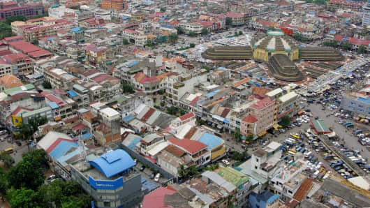 An aerial view of Phnom Penh