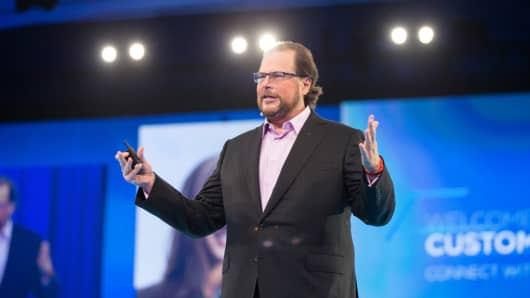 Marc Benioff, CEO of Salesforce.com speaking at Dreamforce 2014.