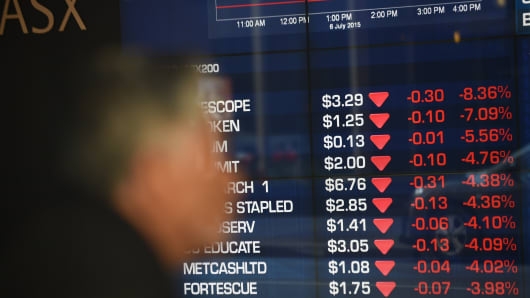 Stocks on the benchmark S&P/ASX200 index are seen in this share price board at the Australian Stock Exchange in Sydney.