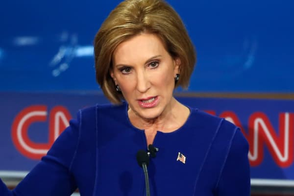 Republican presidential candidate and former Hewlett Packard CEO Carly Fiorina speaks during the second official Republican presidential candidates debate of the 2016 U.S. presidential campaign at the Ronald Reagan Presidential Library in Simi Valley, California, September 16, 2015.
