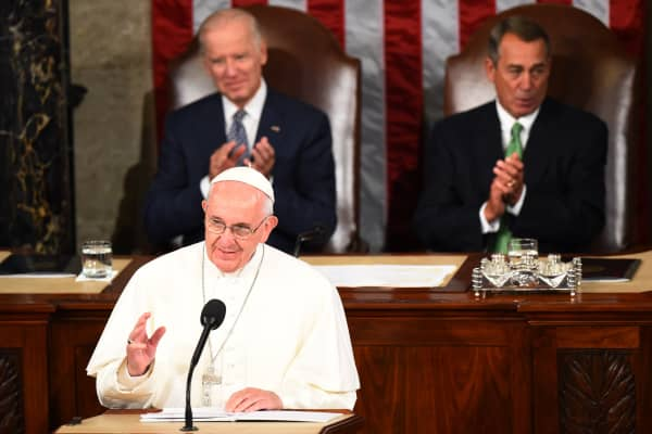 Pope Francis addresses a joint session of Congress on September 24, 2014 in Washington, DC.