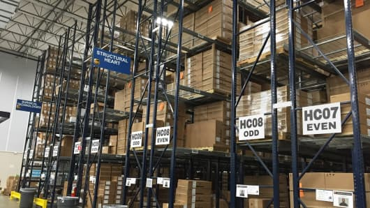 Inside UPS's logistics facility in Swedesboro, New Jersey.