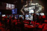 Attendees play the Call of Duty: Black Ops III game by Activision Blizzard Inc. during the E3 Electronic Entertainment Expo in Los Angeles.