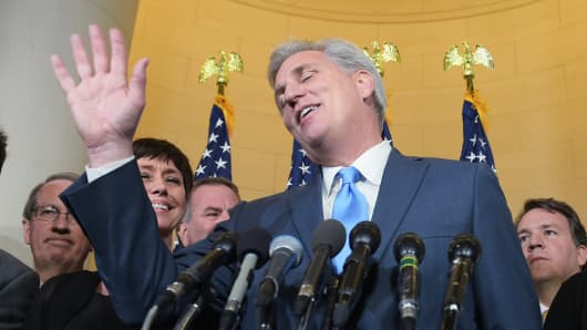 Representative Kevin McCarthy, R-CA, speaks following the Republican nomination election for House speaker in the Longworth House Office Building on October 8, 2015 in Washington, DC.