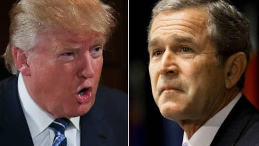Donald Trump (L) and George W. Bush (R).
