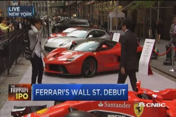 Ferrari cars parked outside NYSE for IPO