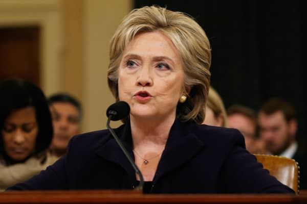 Hillary Clinton testifies before the House Select Committee on Benghazi on Capitol Hill in Washington October 22, 2015.