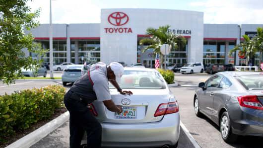 A Toyota dealership in Deerfield Beach, Florida.