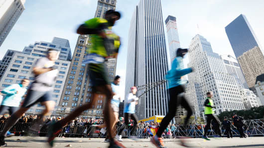 Runners compete in the TCS New York City Marathon
