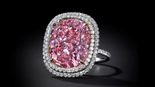 Christie's is to offer the largest cushion-shaped Fancy Vivid Pink diamond ever to come to auction estimated at $23 million to $28 million.