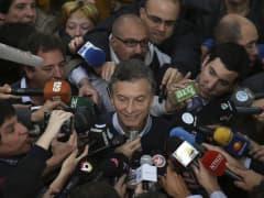 Mauricio Macri speaks to the media in Buenos Aires, Argentina.
