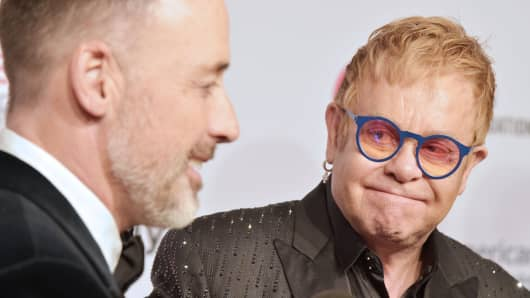 David Furnish and Sir Elton John attend Elton John AIDS Foundation's 14th Annual An Enduring Vision Benefit at Cipriani Wall Street on November 2, 2015 in New York City