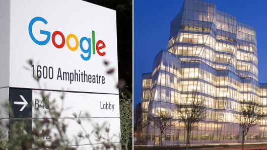 Google sign at headquarters and the IAC building