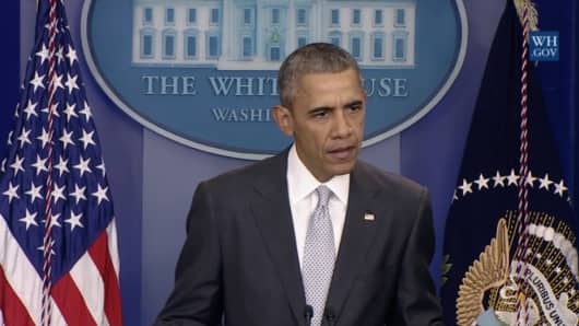 President Obama addresses the press on the attacks that occurred  in Paris, France on November 13, 2015.