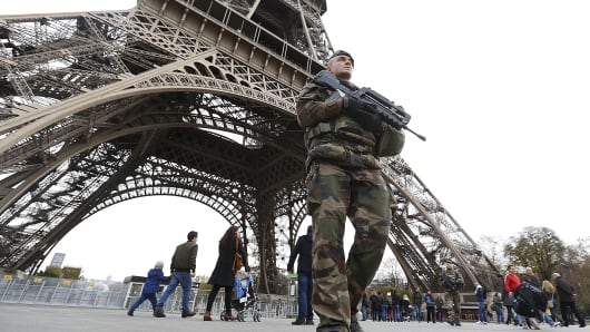 French military patrol near the Eiffel Tower the day after a series of deadly attacks in Paris , November 14, 2015.