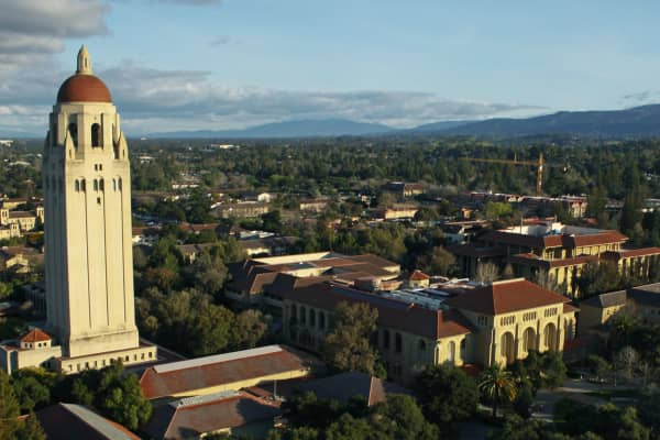 Wide angle view of Hoover Tower on Stanford University campus