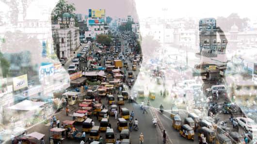 Cityscape of India.