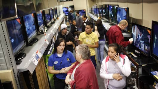 Eager Retailers Greet Crowds Of Shoppers On 'Black Friday'