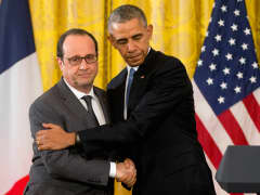 President Barack Obama with French President Francois Hollande