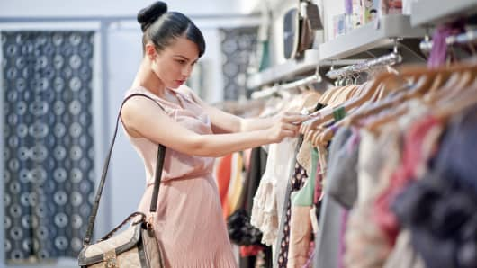 Woman shopping boutique