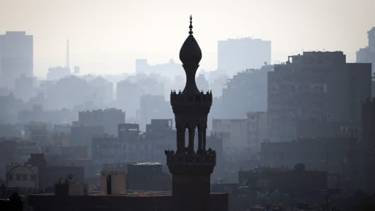 A skyline view of Cairo, Egypt